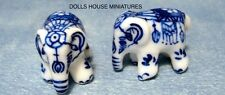 Par de ornamentales Olla elefantes, casa de muñecas en miniatura escala 1:12th