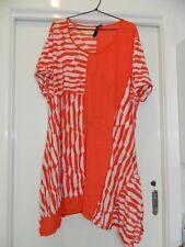 Ladies Taking Shape white orange striped short sleeve tunic- size XL