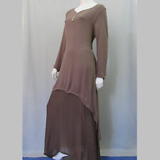Festival Brown Dress Size L Gauze Maxi Layered Hippie New