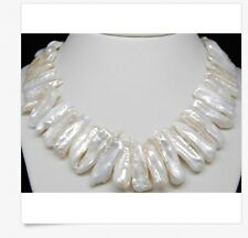 "MP"" NATURAL AAA+QUALITY WHITE BIWA PEARL NECKLACES 18"" Long"