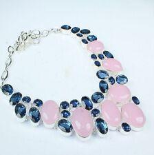 """Handmade Pink Rose Quartz Gemstone 925 Sterling Silver Necklace 18"""" #H00076"""