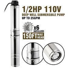 "4"" (102mm) 110V Submersible Bore 0.5HP Water Pump Deep Well Pump Farm Watering"