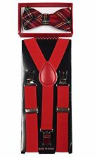 Simple & Elegant Suspender and Bow Tie Set for Boys Girls Children Red Mix Plaid