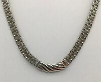 Vintage Monet Silver Tone Necklace Swirl Center Pendant X Design Chain