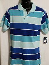Nautica Boy's XL 18-20 Polo Shirt NWT $36.50 Retail,light blue stripes,CASUAL