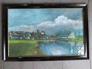 Schönes Pastellbild - Ansicht von Burgau/LK Günzburg in Schellackrahmen  ca.1920