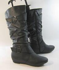 """new black 1.5""""hidden wedge heel round toe top side buckle mid-calf boot Size 6.5"""