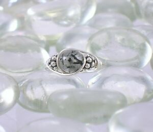 Tourmaline in Quartz Sterling Silver Bali Bead Ring