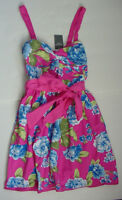 NWT New Authentic Abercrombie & Fitch Sun Belted Dress Pink Blue Women Sz S M