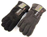 Mens Thinsulate Polar Fleece Winter Gloves Thermal lining in Black Grey M/L L/XL