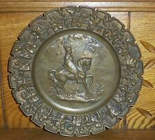 Old Solid Bronze Plate - Crusades Horse & Rider