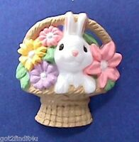 Hallmark PIN Easter Vintage BUNNY RABBIT FLOWER BASKET White Holiday Brooch