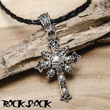 Cross Skulls Silver Tone Necklace Rock Heavy Metal Gothic Evil Devil Jewellery
