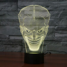 3D Evil Smile Jack Desk Light Acrylic Crystal LED Table Lamp Xmas Birthday Gifts