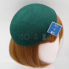 VINTAGE Wool Felt Beret Pillbox Hat Women DIY Fascinator | Black Green Red Brown
