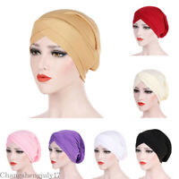 Women Muslim Cross Scarf Inner Hijab Cap Islamic Head Wear Hat Headband Turban