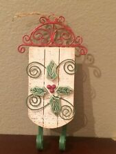 Wood Sled on Metal with Porcelain Holly and Berries Hanging Decor Winter Xmas