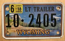 "WYOMING GRAPHIC  LT TRAILER SMALL TRL  CYCLE SIZE LICENSE PLATE "" 10 2405 "" WY"