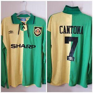 CANTONA 7 Manchester United Retro Green and Gold Away Shirt 1992-1994 XL
