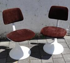 Panton ère Paire Tulip chaises Chaise de Bureau Table à manger blanc brun 70er Ans