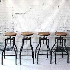 Set of 4 Rustic Pub Bar Stools Industrial Metal Wood Seat Adjustable Swivel A7T8