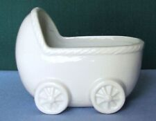 WHITE CHINA BABY CARRIAGE VINTAGE JAPAN