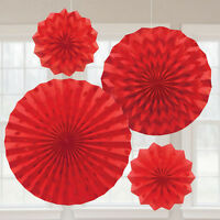 4 x Red Paper Fans Hanging Party Decoration Glitter Finish Ruby 40th Anniversary