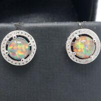 Gorgeous Fire Opal Earrings Women Wedding Jewelry 14K White Gold Plated