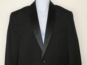 Size 44 Mens Check Blk Satin Trim Suit Jacket by Reaction Kenneth Cole $295 NWT