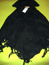 Ambiance Forever 21 Black Open Sweater Poncho with Hood Hoodie