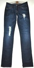 Rich & Skinny Factory Destroyed Grindwash Dark Blue Straight Jeans 24 X 32 CUTE