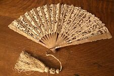 Antique Chantilly Lace Mother of Pearl French Evening Fan