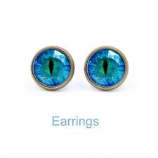 Creative Blue Cats Eye Earrings Handmade Earring Gothic Steampunk Dragon Eyes