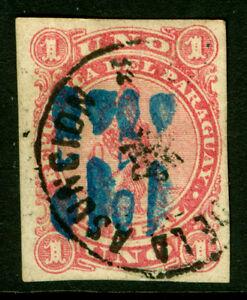 PARAGUAY 1878 LION - BLUE SURCH. handstamp 5c /1r rose  Sc# 5F  DOUBLE SURCHARGE