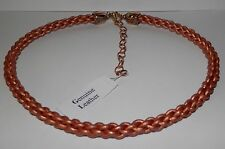 Carolyn Pollack Leather & Brass Braided Cord Necklace