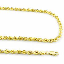 """Rope Chain Necklace w Lobster Clasp- 28"""" 14k Yellow Solid Gold 4mm Diamond Cut"""