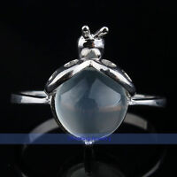 Natural Round 925 Sterling Silver White Rainbow Moonstone Ring Size 8 7 6