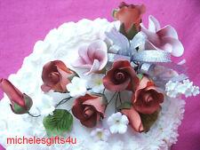 Gum Paste Red /Orange RosesWhite Frangipani Hawaiian Sugar Cake Flowers