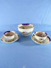 More details for gaudy welsh tea cups & saucers 2 & large sugar bowl staffordshire imari pattern