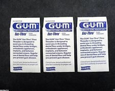 3 Packs GUM Eez-Thru Dental Floss Threaders Envelope Lot of