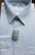 """Van Heusen Cotton 100, Long Sleeve, Shirt. Pale Blue & Blue Stripe. 15""""-38cm"""