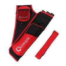 Archery 3 Tubes Hip Arrow Quiver with Adjustable Waist Belt & Pockets Red