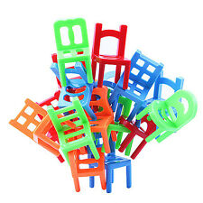 18PCS Stacking Game Cups Chairs Balance Concentrate Kids Family Stack up High
