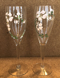 """2 Perrier Jouet Belle Epoque Champagne Flutes from France 7-1/2"""" tall"""