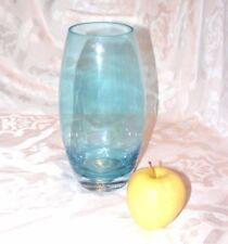 """CYLINDRICAL TURQUOISE GLASS VASE, Handblown Tall Oval Flower Vase, 9"""" tall"""