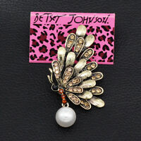 Betsey Johnson Retro Pearl Crystal Butterfly Charm Women's Brooch Pin Gift