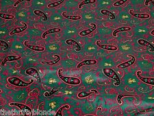 Vintage Green Paisley Cotton Fabric 3 1/2 Yards 17185