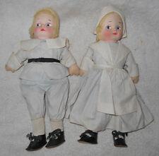 13 in Alpha Farnell Dutch Dolls Hansel Gretel Cloth Painted Face Glancing Eyes