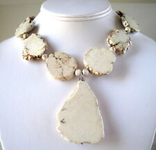 Chunky Large Off white Turquoise Pendant Slab Sterling Necklace