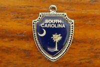 Vintage silver SOUTH CAROLINA FLAG PALM TREE MOON TRAVEL SHIELD charm #E20
